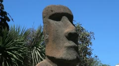 Chile Vina del Mar Easter Island statue face Stock Footage