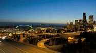 Stock Video Footage of Seattle Sunset Interstate Traffic