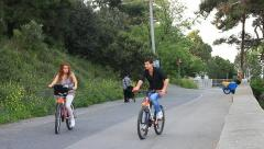 Couple cycling in nature Stock Footage