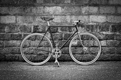 Black and white Photo of a fixed gear bike - stock photo