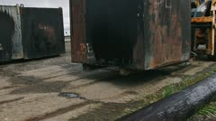 Loader Forklift Moving Waste Oil Container Close 2 Stock Footage