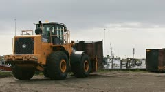 Loader Forklift Moving Waste Oil Container 1 Stock Footage