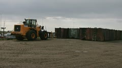 Loader Forklift Approaches Waste Oil Container Stock Footage