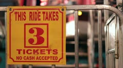 Three tickets to ride at carnival Stock Footage