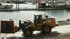 Loader Forklift Moving Waste Oil Container 2 Stock Footage