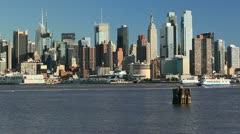 Midtown Manhattan Across the Hudson River, New York Stock Footage