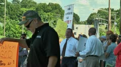 Street preacher in anti gay protest 5 27 12 Stock Footage