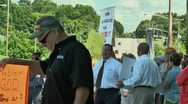 Stock Video Footage of street preacher in anti gay protest 5 27 12
