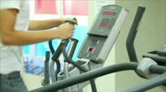 Velosimulator in the gym 2 Stock Footage