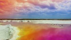 Pink sea salt flats mexico Stock Footage