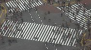Timelapse Aerial view Shibuya pedestrian crossing day Tokyo Japan fast motion Stock Footage