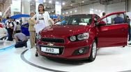 Stock Video Footage of Chevrolet Aveo at yearly automotive-show SIA 2012 in Kiev, Ukraine