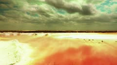 Pink sea salt flats mexico Stock Footage