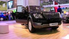 Black KIA Mohave at yearly automotive-show SIA 2012 in Kiev, Ukraine Stock Footage