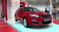 Stock Video Footage of Morris Garages (MG 550) at yearly automotive-show SIA 2012 in Kiev, Ukraine