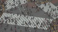 Aerial view Shibuya pedestrian crossing crowded zebra people jam day Tokyo Japan Stock Footage