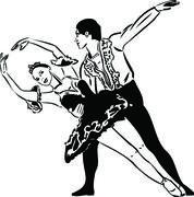 Mustavalkoinen luonnos baletti tanssii parit Piirros