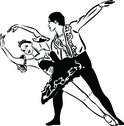 Black and white sketch ballet dancing couples Stock Illustration