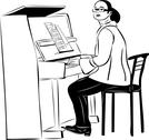 Stock Illustration of sketch of a woman pianist in glasses
