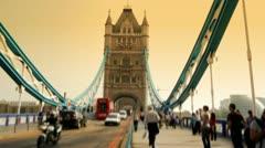 tower bridge timelapse with pedestrians - stock footage