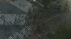 Aerial view of Shibuya pedestrian crossing by night, Tokyo, Japan - stock footage