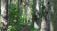 Man running along the forest trail Stock Footage