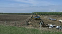 pipeline construction, zoom in to pipe - stock footage