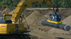 Pipeline construction, pipe tractor and pipe Stock Footage