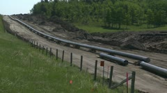 pipeline construction, wide shot - stock footage