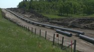 Pipeline construction, wide shot Stock Footage