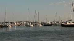 Marina with sailing boats and yachts Stock Footage