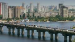 Car traffic on bridge in Kiev timelapse Stock Footage