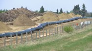 Pipeline construction, zoom from line, #1 Stock Footage