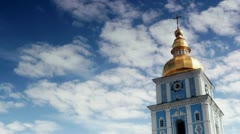 Timelapse of Clouds passing by St. Michael's Golden-Domed Monastery. Stock Footage