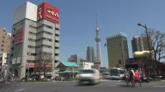 Timelapse Sumida street traffic and Sky Tree, Tokyo, Japan Stock Footage