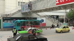 Placing a billboard in the streets of Kashgar, advertising in China city Stock Footage