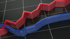 Business chart red and blue line - stock footage