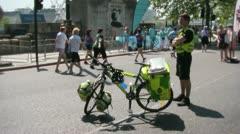 Paramedic cyclist bicycle bike ambulance Stock Footage
