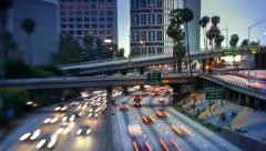 Freeway traffic in downtown Los Angeles city. Timelapse. Stock Footage