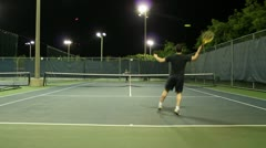 Jm1200-Night Tennis Ralley Stock Footage