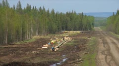 Pipeline construction, gas line in forest, long shot Stock Footage