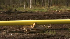 Pipeline construction, gas line in forest pan reveal Stock Footage
