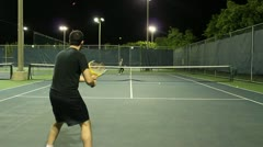 Jm1207-Night Tennis Ralley4 Stock Footage