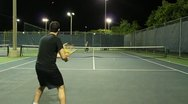Jm1207-Night Tennis Ralley4 Stock Footage