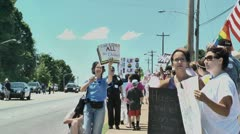 Gay protest of local preacher 5 27 12 six Stock Footage