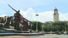 Bonifacio Monument and Manila City Hall Clock Tower, Philippines Stock Footage