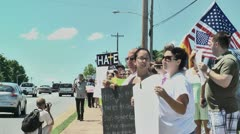 Gay protest of local preacher 5 27 12 seven - stock footage
