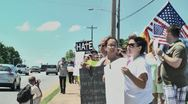 Gay protest of local preacher 5 27 12 seven Stock Footage