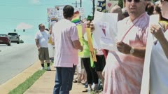 Gay protest of local preacher 5 27 12 eight - stock footage