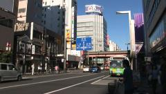Tokyo Street - Japan - Zoom Out. Ueno Shimbashi sign.  Stock Footage